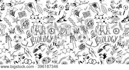 Biology Drawing Set. Seamless Pattern - Scientific Background. Science Background. School Education.