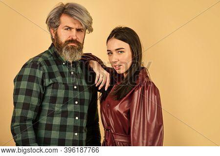 Enjoying Autumn Time Together. Fashionable Couple Posing In Street. Trendy Couple. Outdoor Autumn Ou