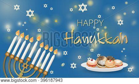 Hanukkah Shining Background With Menorah, David Star, Deep Fried Sufganiyot Donuts,. Happy Hanukkah