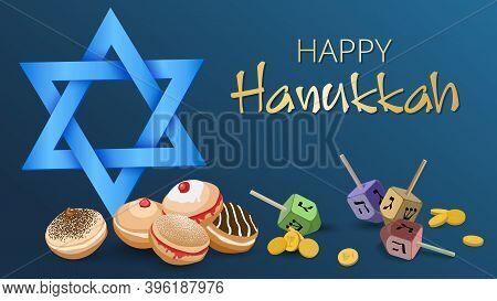 Hanukkah Background With Light Blue David Star, Deep Fried Sufganiyot Donuts, Gold Coins And Dreidel