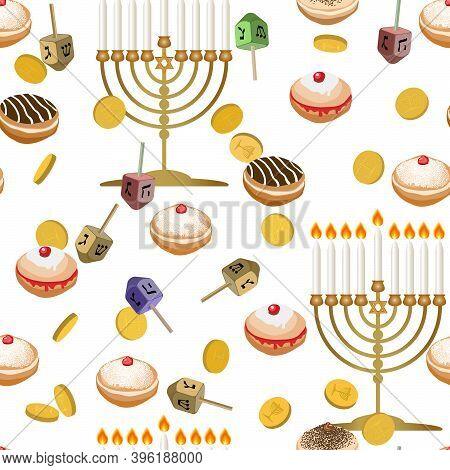 Seamless Pattern With Menorah, Star Of David, Dreidels And Gold Coins. Traditional Symbol Of Israel