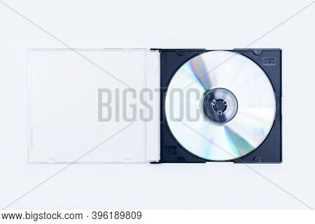 Compact Disc, Cd Inside Its Plastic Case Isolated On White Background