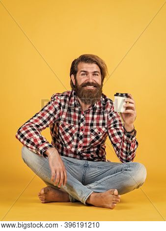 Good Mood. Happy Bearded Man Drinking Morning Coffee. Man Drink Hot Tea From Paper Cup. Good Morning