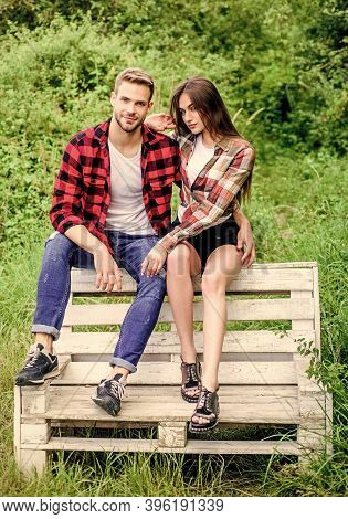 Couple Relax Outdoor On Bench. Relations. Man With Girl In Park. Happy Valentines Day. Summer Campin