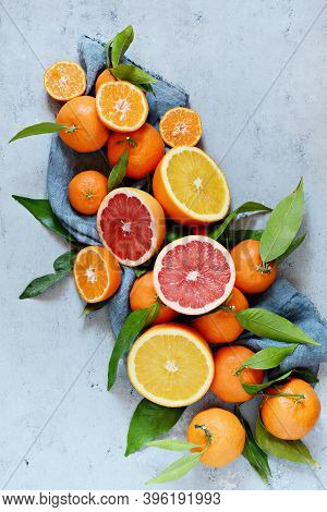 Citrus Fruits Orange, Lemon, Grapefruit, Mandarin, Lime. Fresh Fruits. Mixed Fruits Background. Heal
