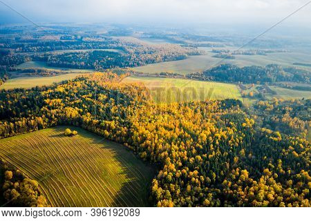 Autumn Landscape Aerial Drone View. Autumn Forest And Fields From Above. Fall Background.