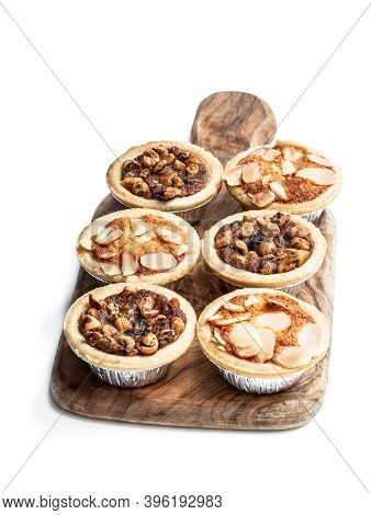 Christmas  Mini Mince Pie On Wooden Board Isolated On White