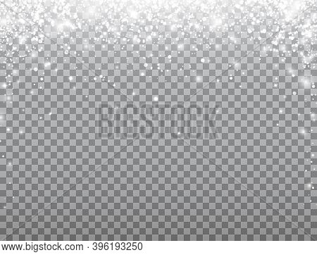 Shining Snow Frame. Merry Christmas Card. Snow Falling On Transparent Background. Celebration Banner