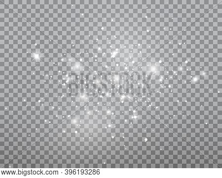 Glowing Light Effect. Shining Snow Composition. Bright White Sparkles On Transparent Background. Chr