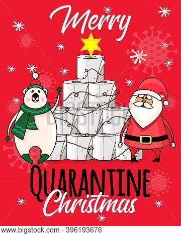 Toilet Roll Pyramid Postcard. Merry Quarantine Christmas Card. Winter Holidays During Coronavirus. C