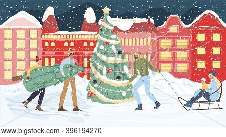Flat Cartoon Happy Family Characters Carry Christmas Tree, Sledging-merry Xmas, Happy New Year Holid