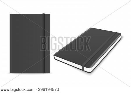 Vector 3d Realistic Black Closed Blank Paper Notebook With Bookmark Set Isolated On White Background