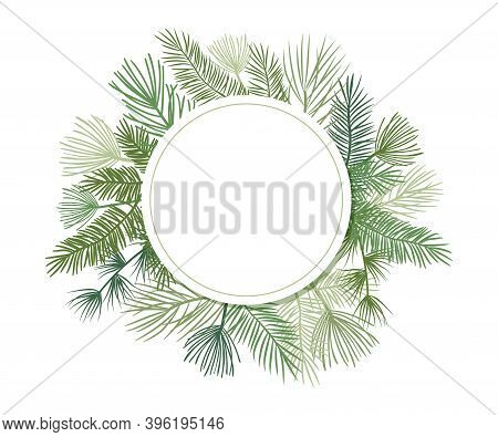 Christmas Plant Vector Circle Border With Fir And Pine Branches, Evergreen Wreath And Corners Frames