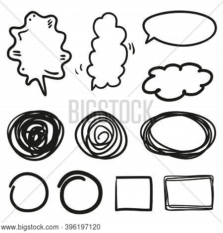 Set Of Hand Drawn Think And Talk Speech Bubbles. Abstract Symbols On White. Pattern Of Loot For Word