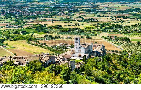 Basilica Of Saint Francis Of Assisi In The Umbria Region Of Italy