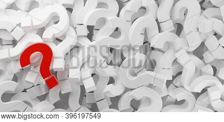 Heap Of White Question Marks Symbol With One Red Question Mark Flat Lay Top View From Above, Questio