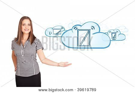 Beutiful young woman presenting modern devices isolated on white