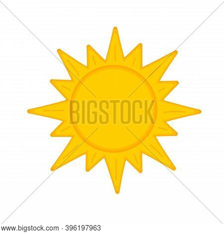 Cartoon Sun Icon Isolated On White Background. Symbol Of Spring Or Summer. Weather Forecast Sign. Ve