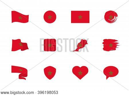 Morocco Flag - Flat Collection. Flags Of Different Shaped Twelve Flat Icons.