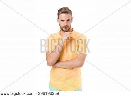 Think. Guy Keep Hand On Chin Isolated On White. Bearded Man With Thinking Face. Lost In Thoughts. Ba