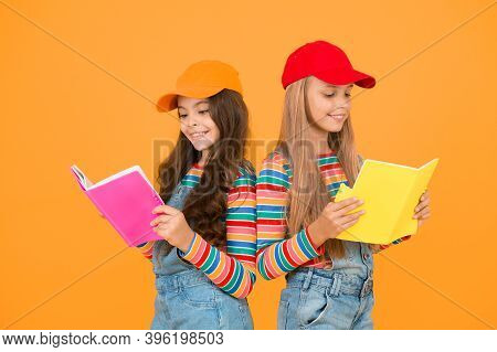 Kids Girls With Books Study Together. Back To School. Learning Foreign Languages. Effective Study Gr