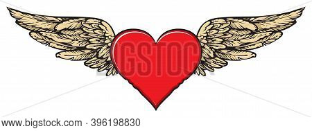 Flying Heart. Vector Graphic Illustration Of A Red Heart With Golden Wings Isolated On A Light Backg