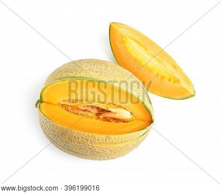Tasty Fresh Cut Melon Isolated On White, Top View