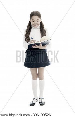 Adorable Child Schoolgirl. Formal Education Concept. School Education Basics. Coordinating Process.