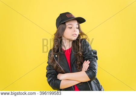 Little Fashionista With Fashion Look Keep Arms Crossed Wearing Casual Style Yellow Background, Fashi