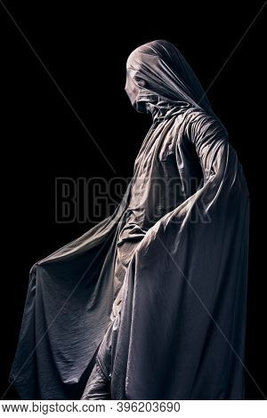 Scary ghost isolated on black background with clipping path