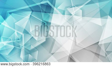 Blue grey tech polygonal abstract background