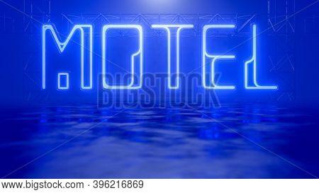 a neon light sign motel 3D illustration