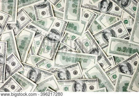 Hundred dollar bills abstract background texture USD American dollars bank notes