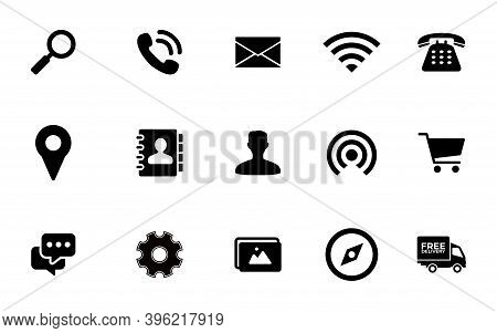Icon Set. Search Icon, Phone Icon, Mail Icon, Location Pin Icon Contact Icon, Phonebook Icon, Shoopi