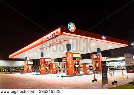 Bangkok Thailand :- Nov 23,  2020 : Caltex Oil Station, Fueling Stations Refuel Service For Cars Are