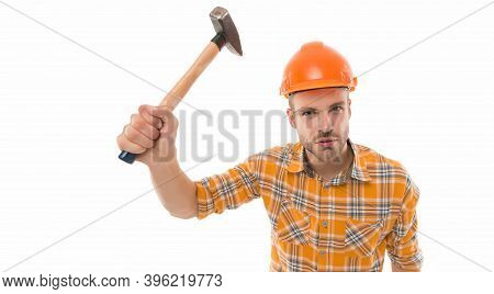 Having Always Hand At Carpentry. Carpenter Hold Hammer Isolated On White. Carpentry And Renovation.