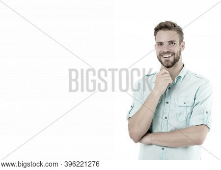 Nice Idea. Man Handsome Bearded Guy Smiling On White Background Isolated. Guy Cheerful Smile Macho F