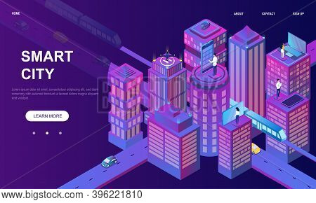 Isometric Illustration Of Smart City. Intelligent Buildings. Streets Of The City Connected To Comput