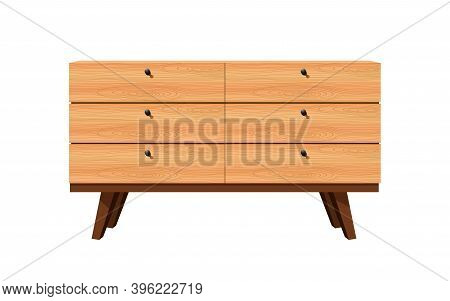 Wooden Cabinet And Showcase In The White Background