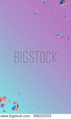 Color Holography Splash Vector Blue Background. Graphic Bubbles Brochure. Iridescent Retro Bubble Ba