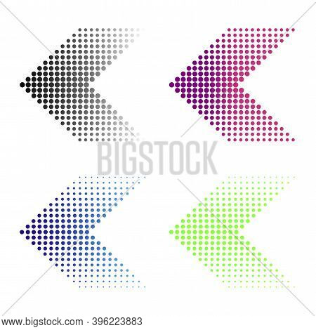 Multicolored Dots Arrows In Modern Style On Halftone Light Background. Abstract Template With Dots A