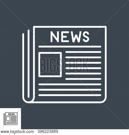 Newspaper Thin Line Vector Icon. Flat Icon Isolated On The Black Background. Editable Eps File. Vect