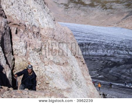 Ascent; Girl; Mountains; Weariness; Glacier