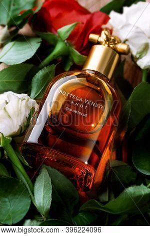 Orhei, Moldova, 21 August 2020: Bottega Veneta Knot perfume, fragrance created by Bottega Veneta fashion brand