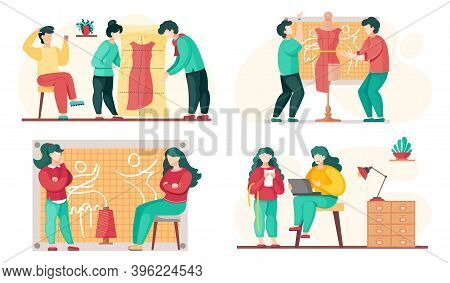 Seamstress Sews Clothes To Order For Customers. Sewing Workshop Scenes Set. Clothing Marking. The Gi