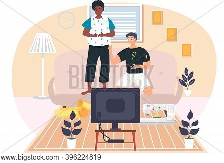 Guys Friends Play Video Games. Young Men Gaming With Gamepad Controller, Holding Joystick In Hands F