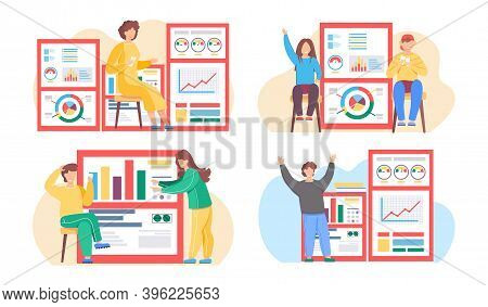 Businesswoman Analyzes Graphs And Charts On The Background. The Marketer Studies Information. Childr