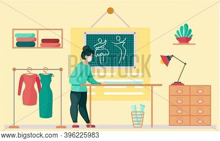 Sewing With Designer Working With Pattern Of Cloth. Professional Tailoring Studio. Woman Working On