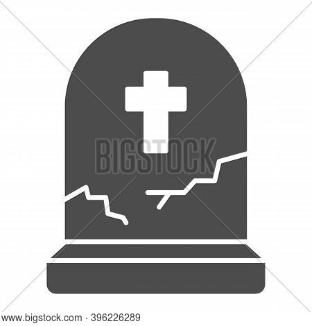 Grave With Cross Solid Icon, Halloween Concept, Grave With Crack Sign On White Background, Abandoned