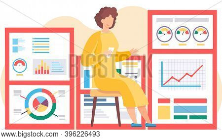 Businesswoman Analyzes Graphs And Charts On The Background. The Marketer Studies Information About T